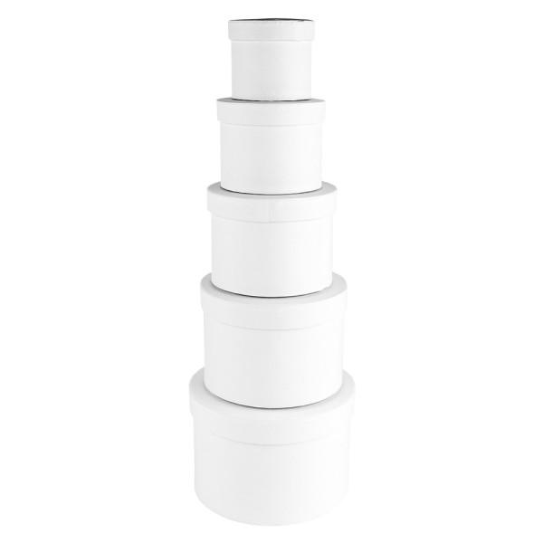 Geschenkboxen, rund, verschiedene Größen, weiß, 5 Stück