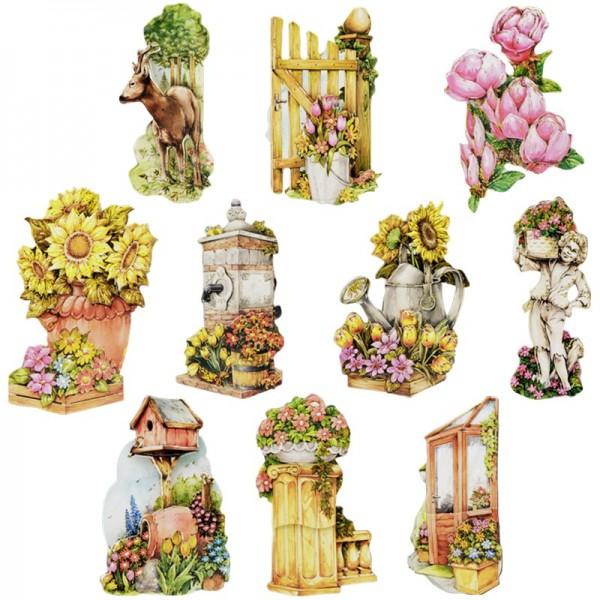 3-D Motive, Gartenmotive, Gold-Gravur, 4,5-8cm, 10 Motive