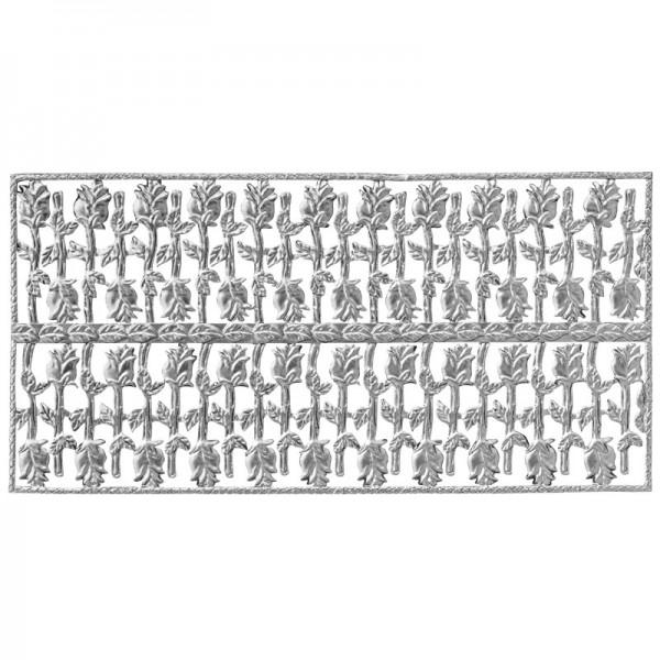 Wachsornament-Platte Rosen, geprägt, 20x10cm, silber