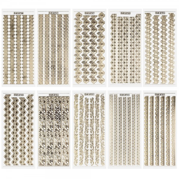 Gravur-Stickerbogen, Kunstvolle Bordüren, 10cm x 23cm, tranparent/gold, 10 Bogen