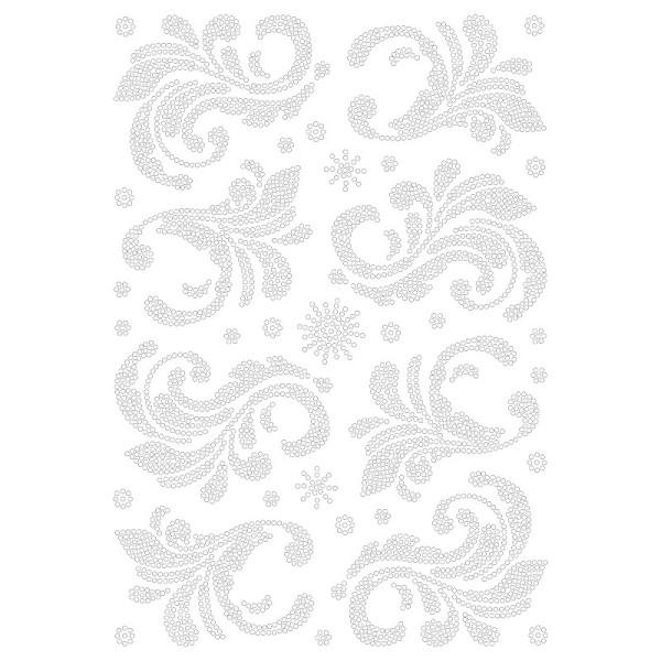 Bügelstrass-Design, DIN A4, klar, Blatt-Ornamente 2