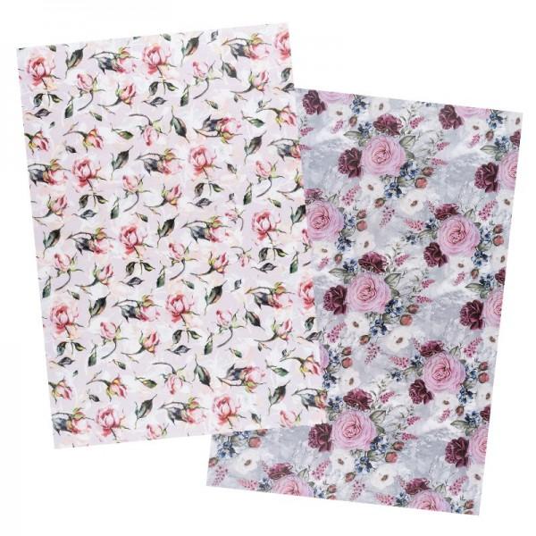 Reispapiere, Blüten 26, DIN A4, 30g/m², 2 Designs