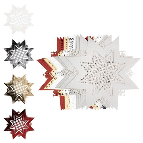 Laser-Kartenaufleger, Stern, Ø 13,9cm, 4 Farbtöne, 20 Stück