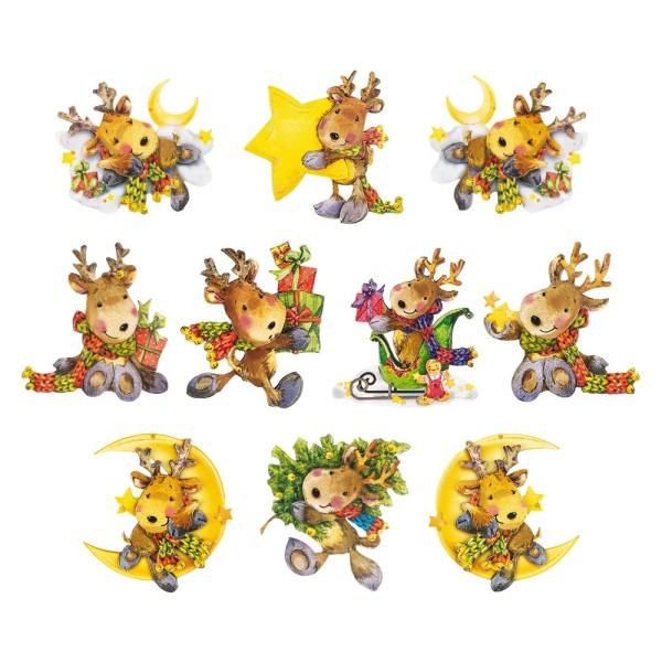 3-D Motive, Niedliche Weihnachts-Elche, 8-9,5cm, 10 Motive