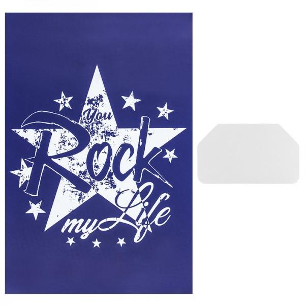 Siebdruckschablone Stern, Rock my Life, 32,5cm x 22,5cm, selbstklebend, inkl. Rakel