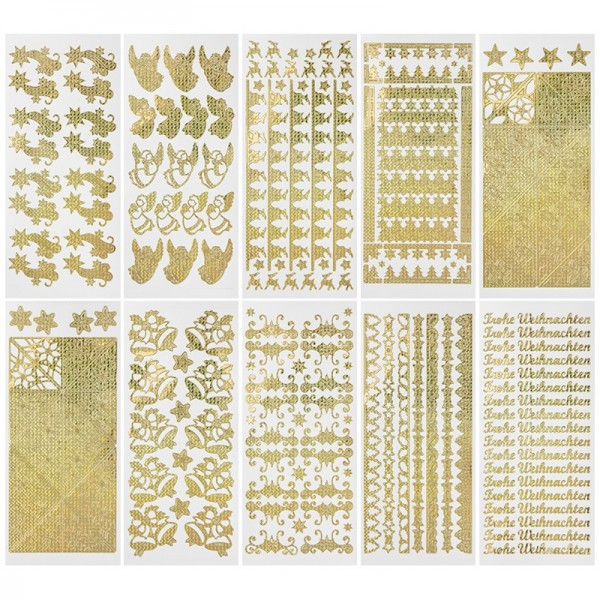 Sticker, Weihnachten, gold, Laserzauberfolie, 10 Bogen