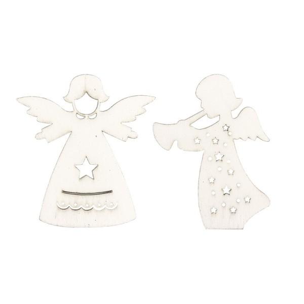Engel aus Holz, weiß, 2 Designs, 5,5cm x 6,1cm x 0,3cm & 5cm x 6,5cm x 0,3cm, 24 Stück