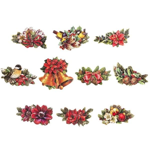 3-D Motive, Weihnachts-Floristik 2, 5-9,5cm, 10 Motive
