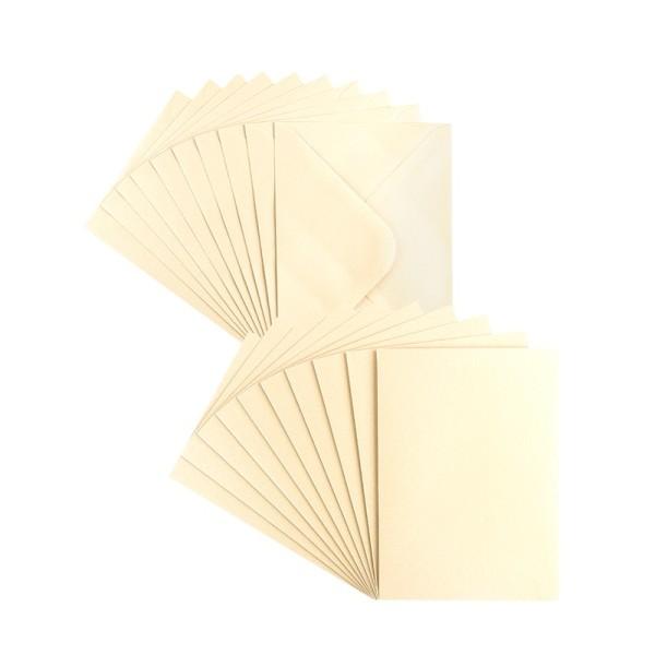 Grußkarten, Perlmutt, C6 (10,5cm x 14,8cm), creme, inkl. Umschläge, 10 Stück