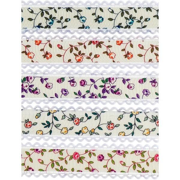 "Zierbänder ""Flora"", 1m lang, 2,5cm breit, 5 Stück"