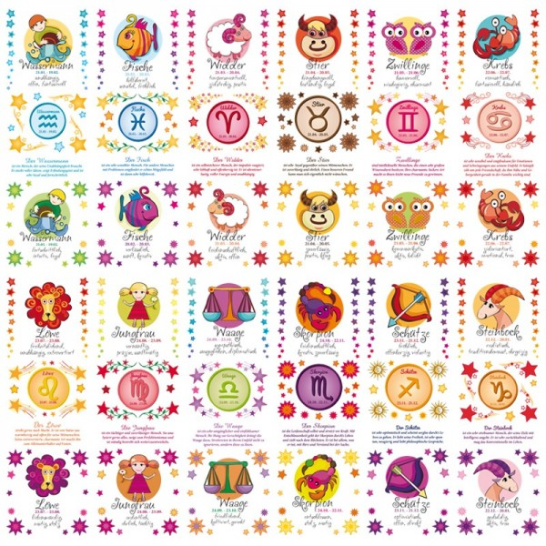Transparent-Stickerbogen, Horoskope, 10x30cm, 12er Set