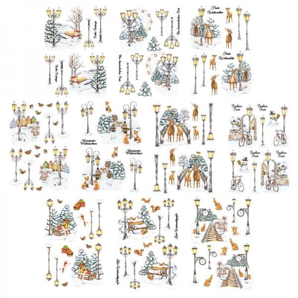 Transparent-Stickerbogen, Winterlaternen, verschiedene Designs, mit Veredelung, DIN A4, 10 Bogen