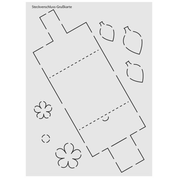 """Design-Schablone Nr. 8 """"Steckverschluss-Grußkarte"""", DIN A4"""