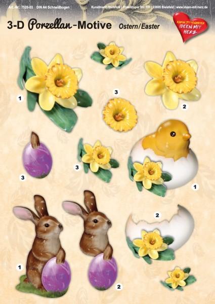 3-D Porzellan-Motive, Ostern, DIN A4 Bogen