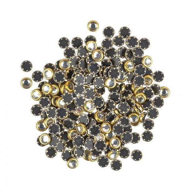 Hot-Fix Glas-Kristalle zum Aufbügeln, Ø 4mm, gold, 200 Stück