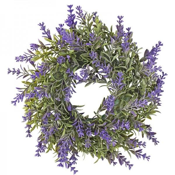 Deko-Kranz, Design 5, innen: Ø 9,5cm, außen: Ø 29,5cm, mit violetten Blüten