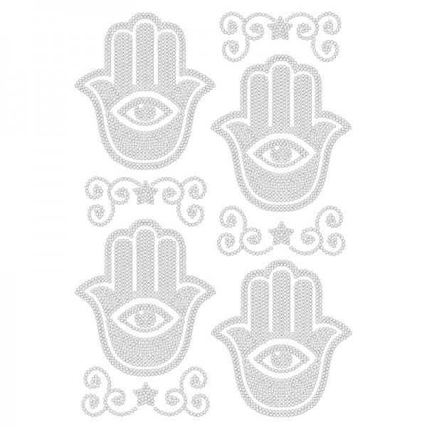 Bügelstrass-Design, DIN A4, klar, Hamsa-Hand