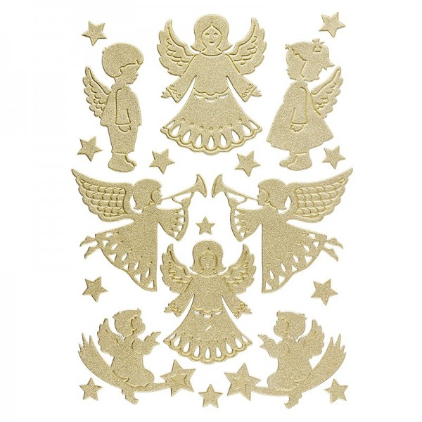 3-D Sticker, Deluxe Engel, verschiedene Größen, selbstklebend, gold