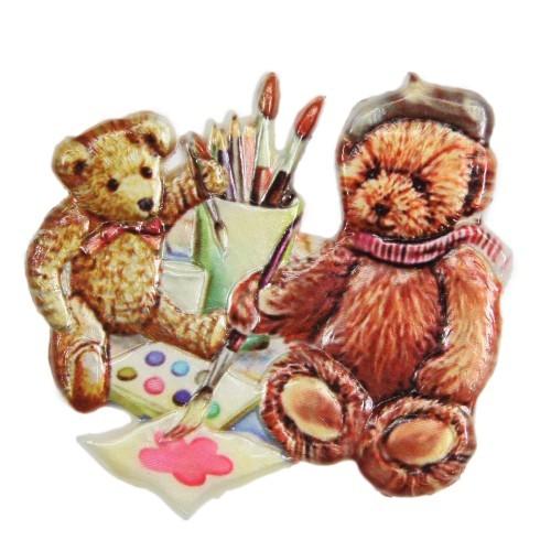Wachsornament Teddys beim Malen, farbig, geprägt, 7,5 x 7,5 cm