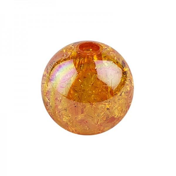 Perlen, Crackle, Ø 10mm, orange-irisierend, 50 Stk.