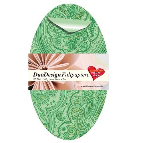 DuoDesign Faltpapier, oval, 14 x 8 cm, 100 Blatt, grün