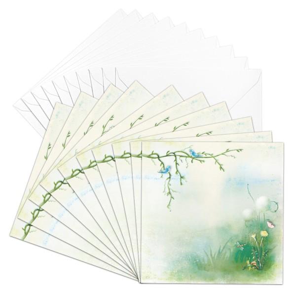 Motiv-Grußkarten, Garten, 16cm x 16cm, 230 g/m³, inkl. weißen Umschlägen, 10 Stück