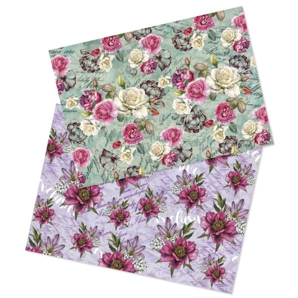 Reispapiere, Blüten 3, DIN A4, 2 Designs