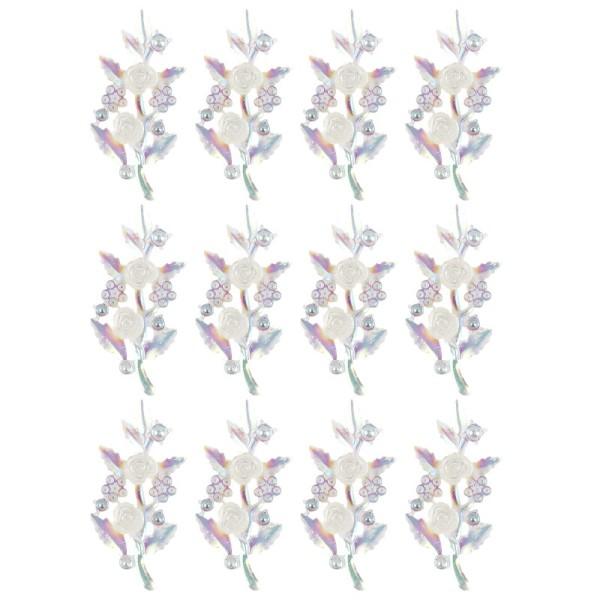 Kristallkunst-Schmucksteine, Rosenzweig, 2,4cm x 5,1cm, transparent, klar, irisierend, 12 Stück