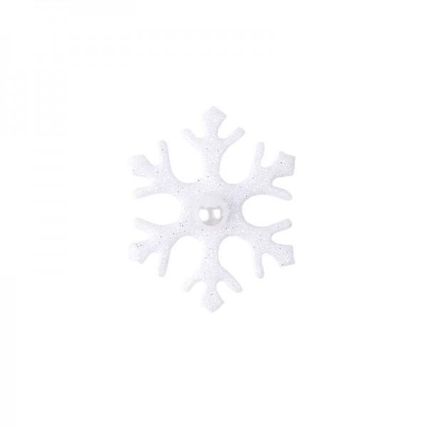 Deko-Eiskristalle, Ø 3,5cm, weiß mit Glitzer, 24 Stück