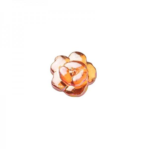 Glitzersteine, Rosen, 8 mm, 50 Stück, orange-irisierend