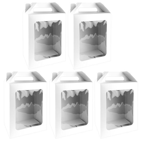 Geschenkboxen mit Sichtfenster, Design 1, 18cm x 13cm x 30cm, 350 g/m², weiß, 5 Stück