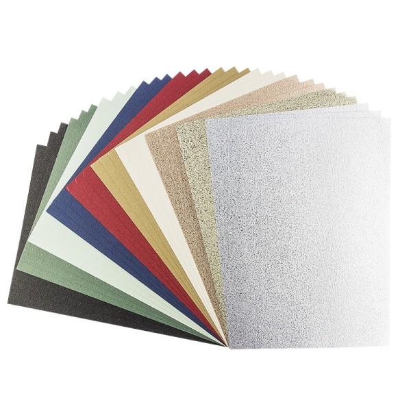 Effekt-Karton Oslo, DIN A4, 230 g/m², geprägt, 10 verschiedene Farben, 30 Bogen