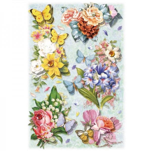 3-D Stickerbogen, Blumen auf Blau 1, 12,7 x 18,8 cm