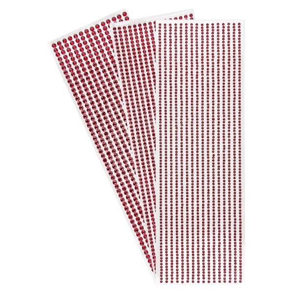 Schmuckstein-Bordüren, rund: Ø 3mm, Ø 4mm ,Ø 5mm, selbstklebend, facettiert, rot, 3 Bogen
