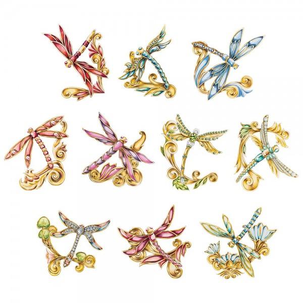 3-D Motive, Schmuck-Libellen, 7,5-10cm, 10 Motive