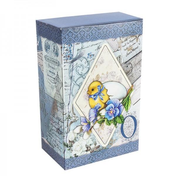 Geschenkbox Kaffee, Vintage, 18cm x 11cm x 7cm, blau