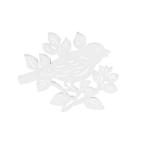 Vögel auf Zweigen, Holz, 8,6cm x 8cm x 0,5cm, weiß, 8 Stück