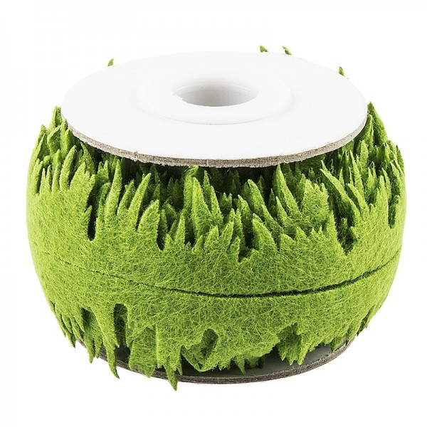 Gras-Zierband aus Filz, 2x 2m lang, 15mm breit, olivgrün