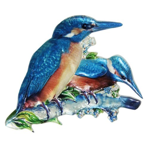 Wachsornament, Eisvogel, farbig, geprägt, 7,5x7,5cm