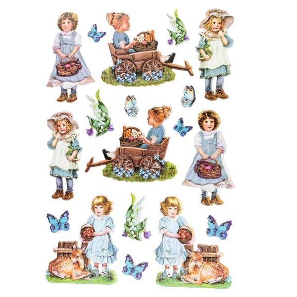 3-D Relief-Sticker, Nostalgie-Kindermotive 3, verschiedene Größen, selbstklebend