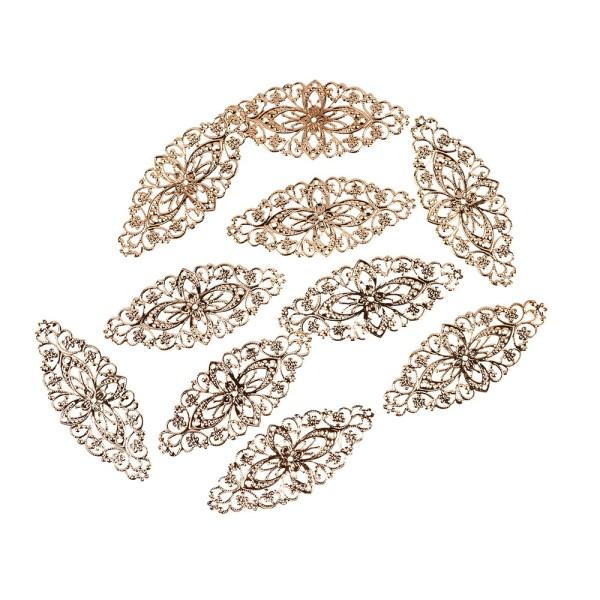 Metall-Ornamente, Design 2, 8,1cm x 3,5cm, roségold, 10 Stück