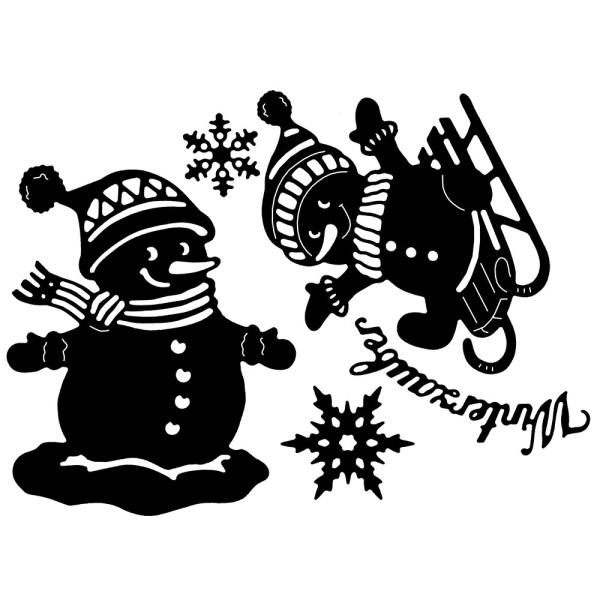 Stanzschablonen, Schneemänner, 5 Stück