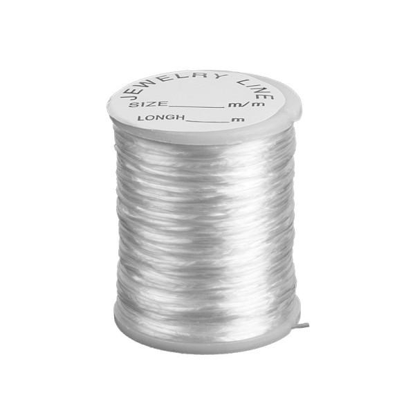 Nylonband, elastisch, transparent, 0,8 mm x 20 m