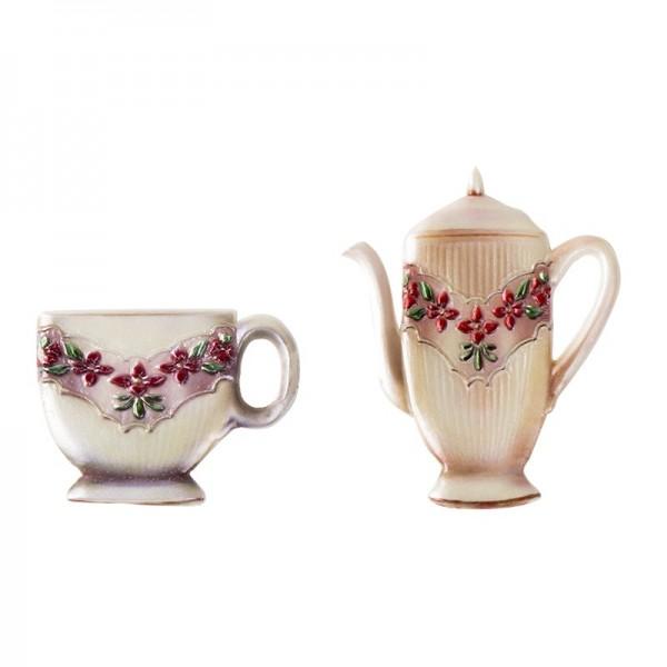 Wachsornamente, Tasse & Kanne 2, Kaffee/Tee, 2 Stück