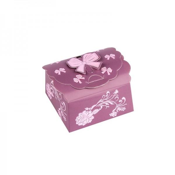 Zier-Faltboxen, Design 3, 7cm x 7cm x 3,5cm, aubergine mit rosafarbener Perlmuttveredelung, 10 Stück