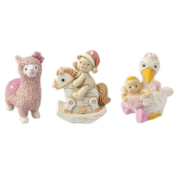 Deko-Figuren, zur Geburt, rosa, Teddy & Schaukelpferd, Lama, Storch, 3 Stück