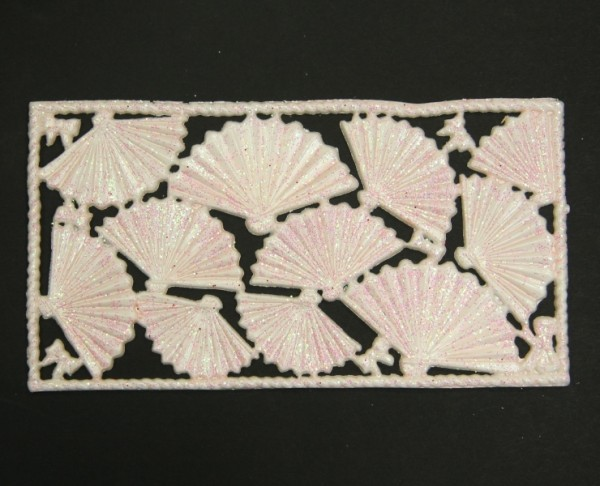 Wachsornament-Platte Fächer, 16 x 8 cm, hellrosa-perlmutt mit Glimmer