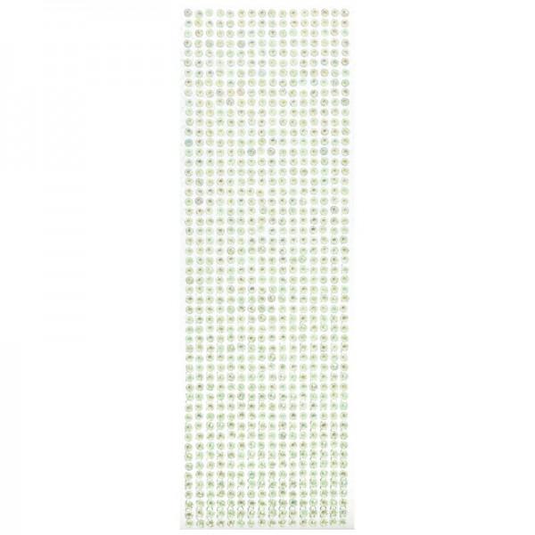 Schmuckstein-Bordüren, selbstklebend, facettiert, irisierend, Ø5mm, 29cm, 16 Stück, hellgrün