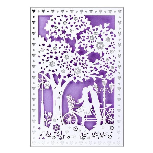 """Laser-Grußkarte """"Hochzeit 2"""", 12x18cm, mit Umschlag & fliederfarbenem Einleger"""