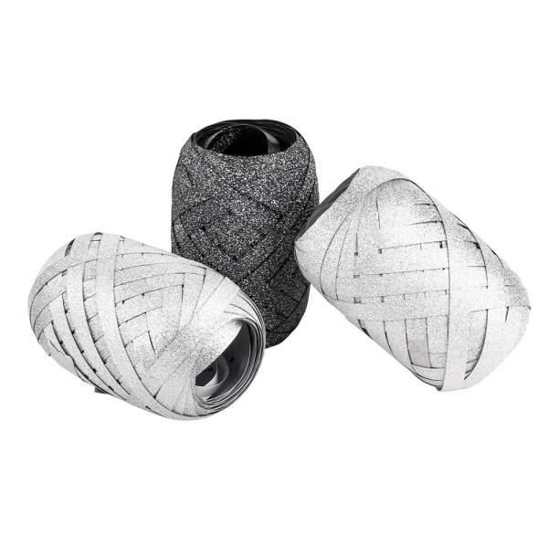 Geschenkbänder, 5mm, je 10m lang, 2x silber- & 1x anthrazit-diamantiert, 3 Stück
